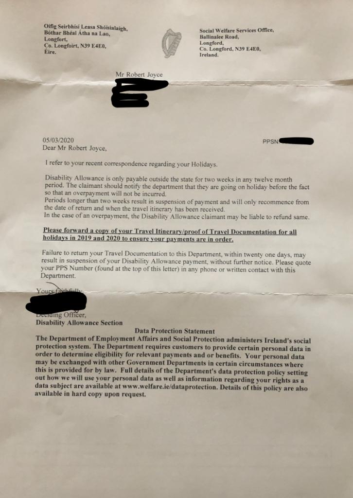 Disability Allowance Letter
