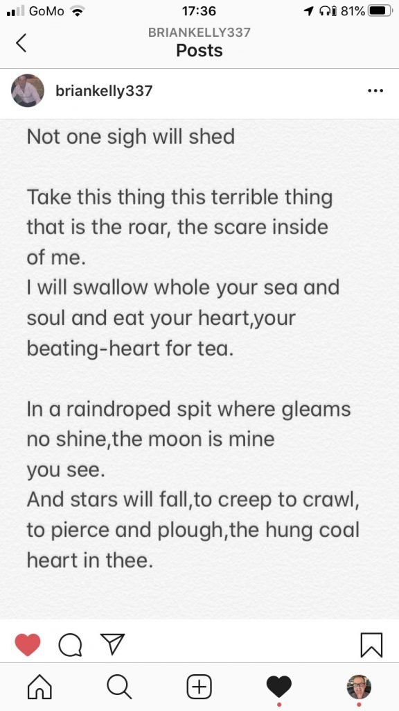 Brian Kelly shared a poem he wrote with me.